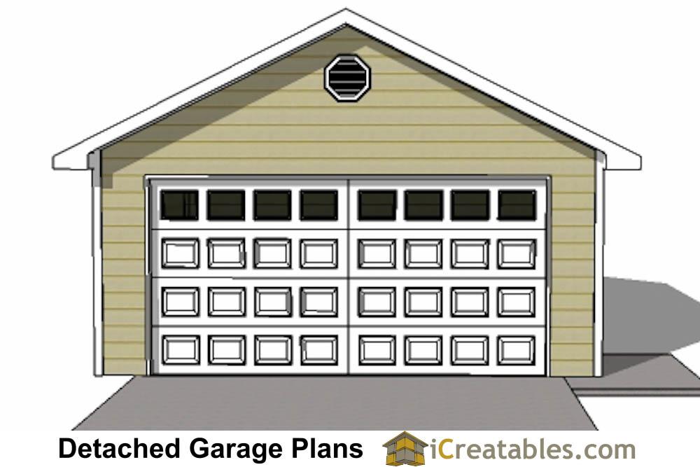 Front Elevation Car Garage Door : Car detached garage plans download and build