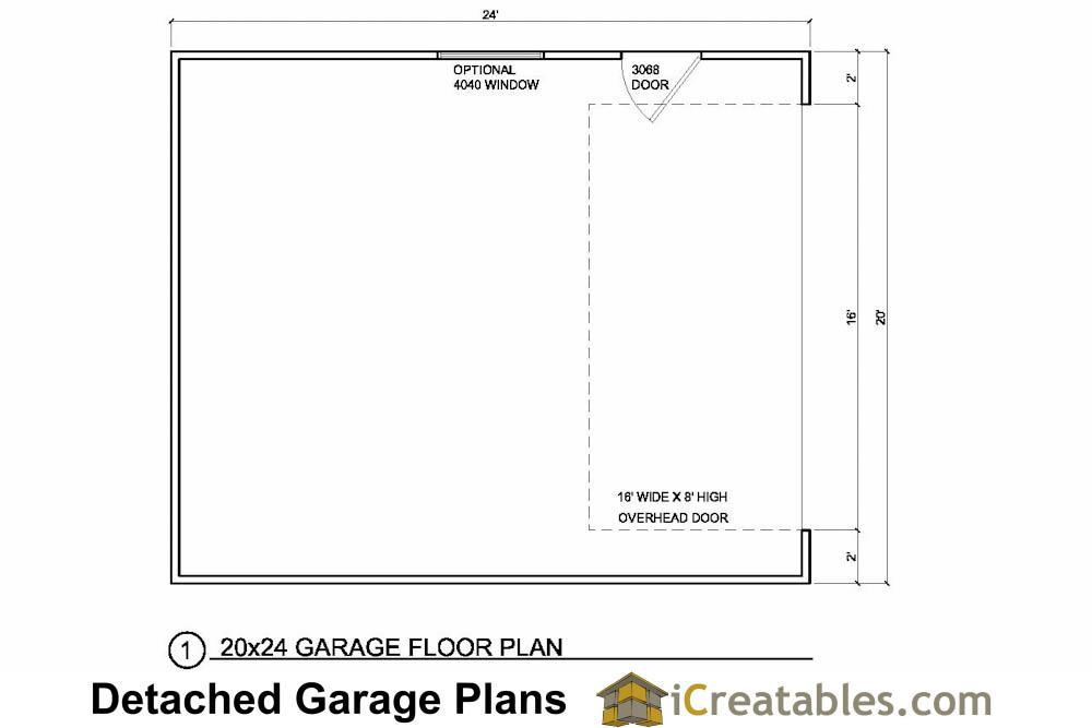 20x24 2C1D 2 Car 1 Door Garage Plans on Detached 3 Car Garage With Apartment Plan