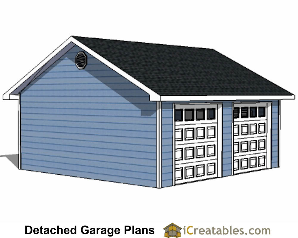 22x22 2 car 2 door detached garage eve over door plans for Two door garage