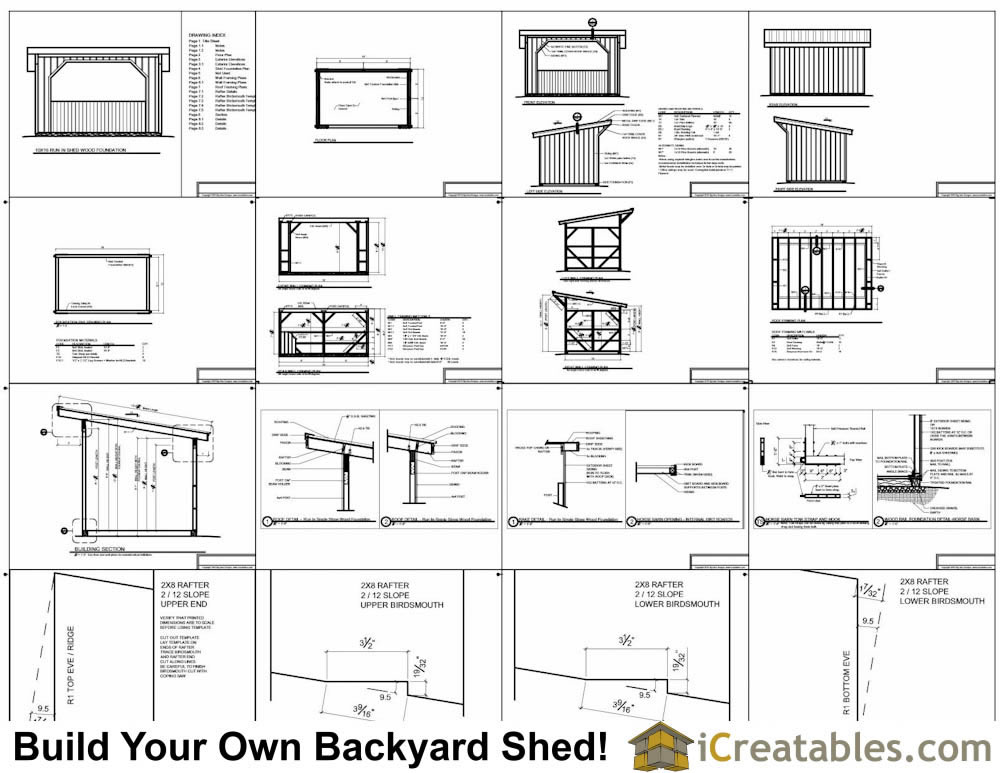 10x16 run in shed plans with wood foundation for Horse barn materials
