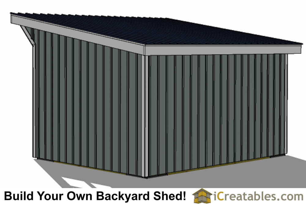 12x16 Run In Shed Plans With Lean To Style Roof