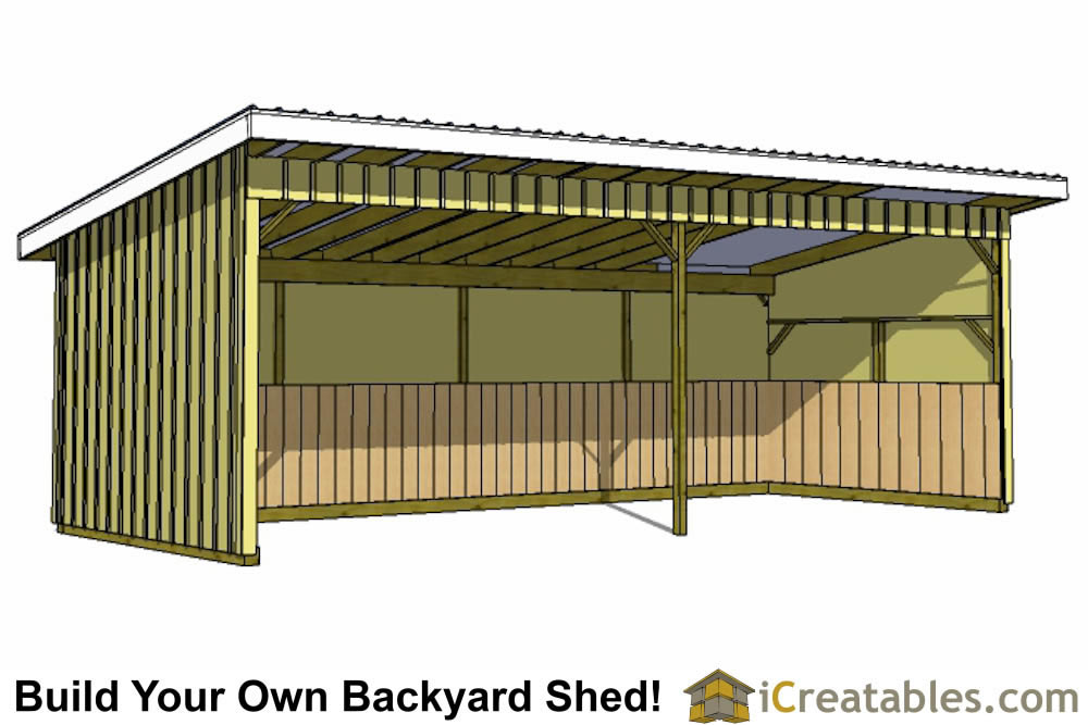 12x30 run in shed plans Horse run in shed plans design