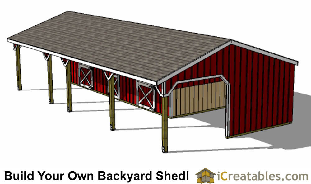 3 stall horse barn plans with lean to and center tack room for 4 stall barn designs
