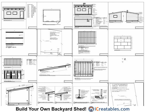 14x20 Modern Studio Shed Plans Icreatables