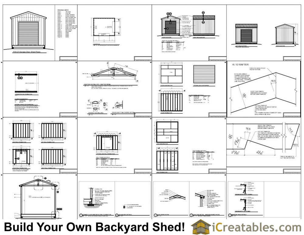 10x12 shed plans with garage door icreatables for 10x14 garage door