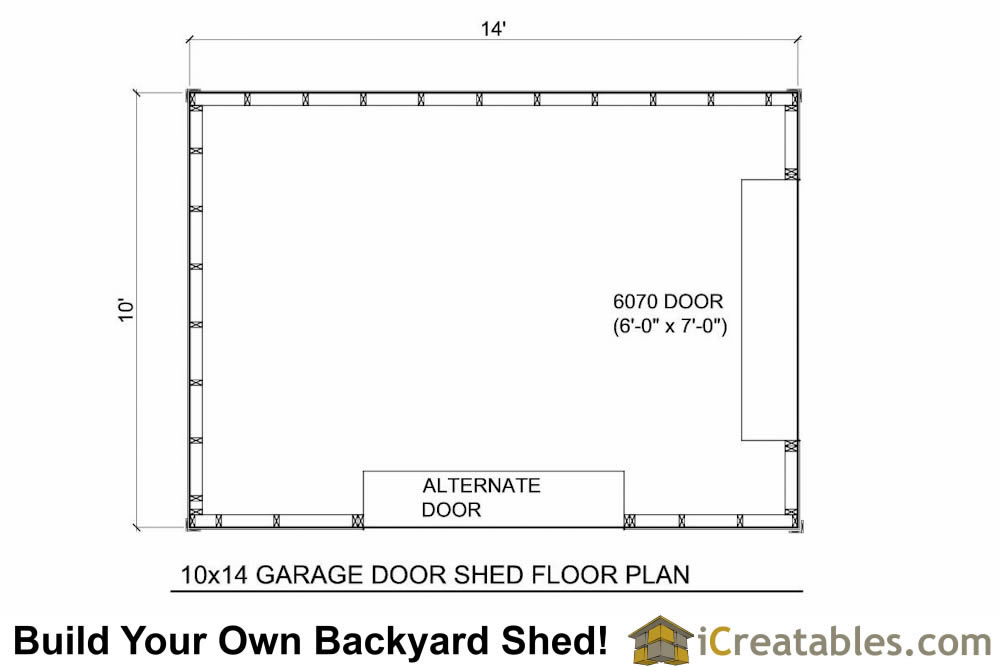10x14 shed plans with garage door icreatables for Shed floor plans