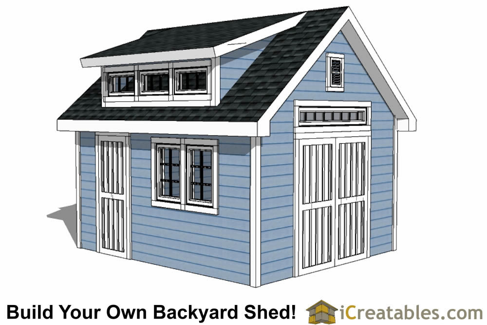 10x14 shed plans large diy storage designs lean to sheds for Shed with dormer