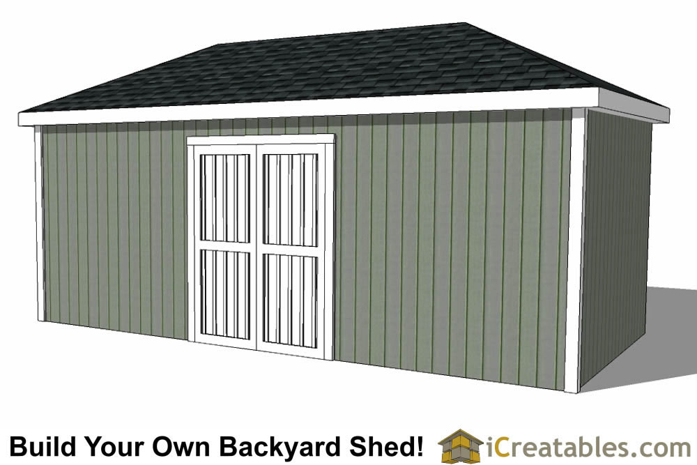 10x20 hip roof shed plans for Double door shed plans