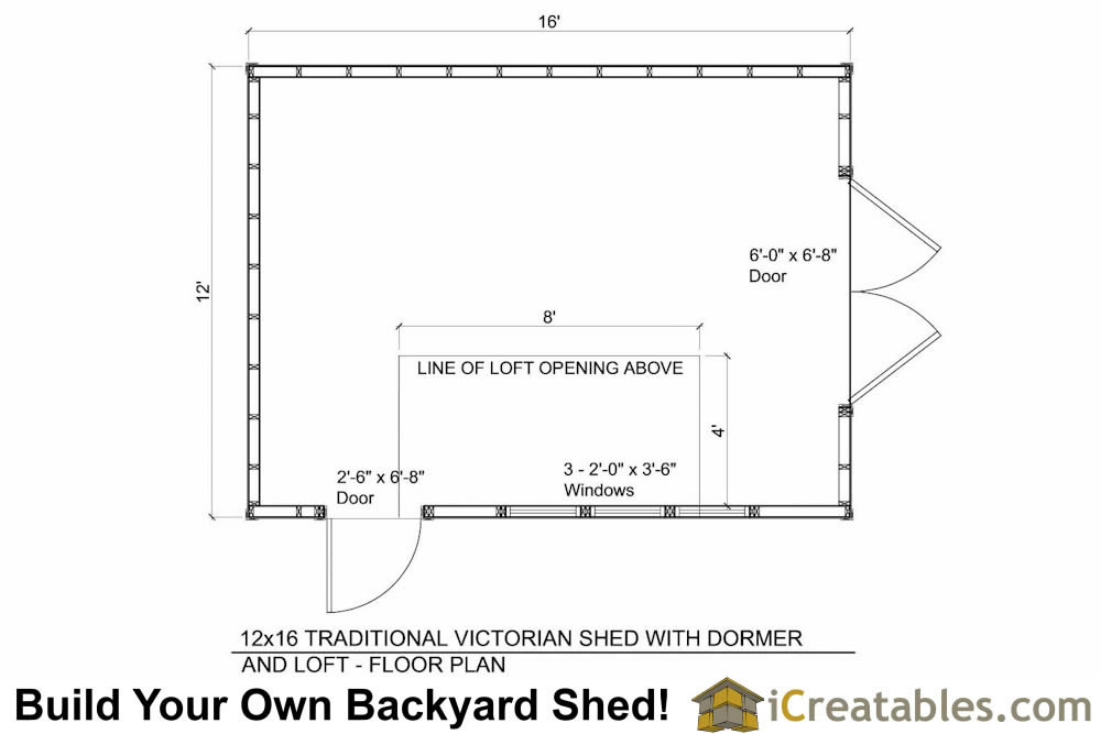 12x16 shed plans with dormer for Dormer floor plans