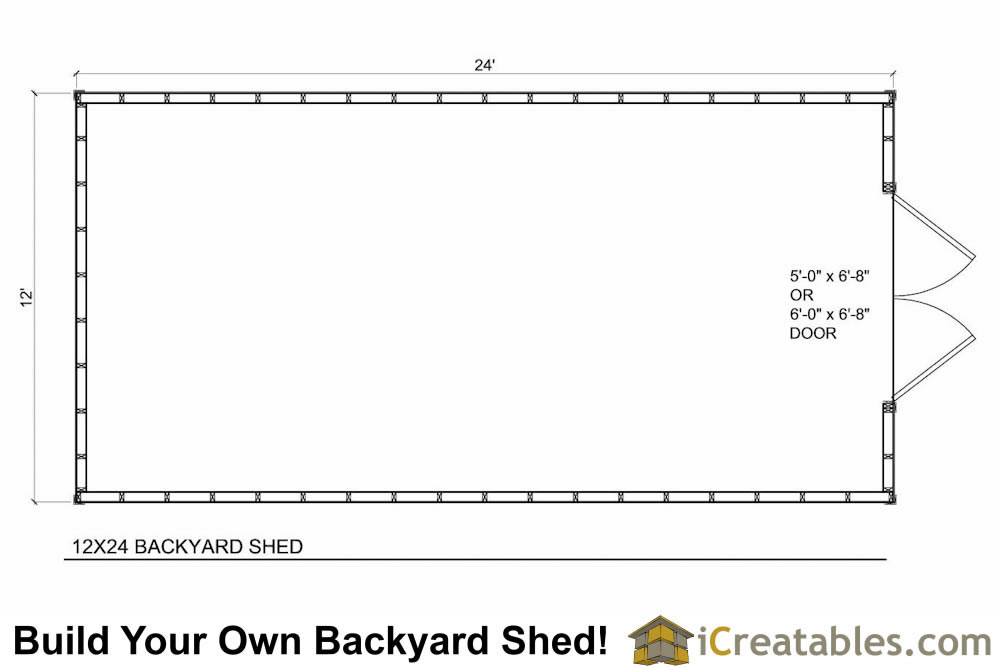 12x24 Backyard Large Shed Plans | iCreatables.com