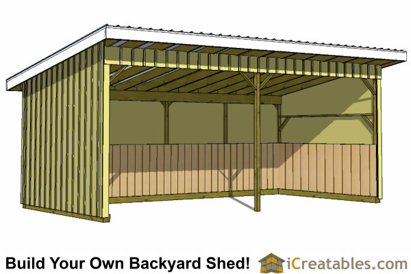 Run in shed plans building your own horse barn icreatables for How to build a sloped roof shed