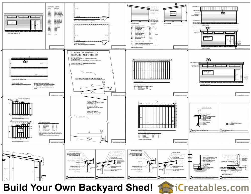 12x24 Modern Studio Shed Plans End Door