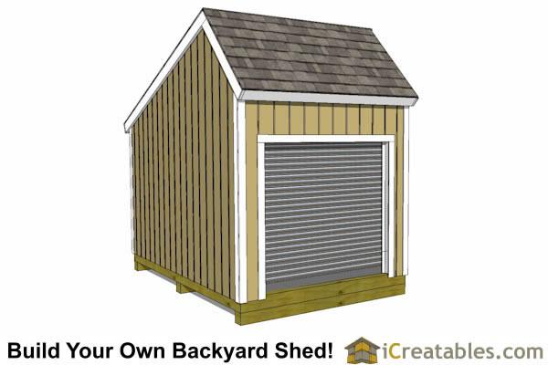 12x8 salt box garage door shed plans motorcycle garage for Salt box sheds