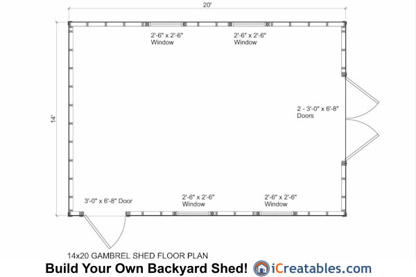 14x20 gambrel shed plans 14x20 barn shed plans for Shed floor plans design