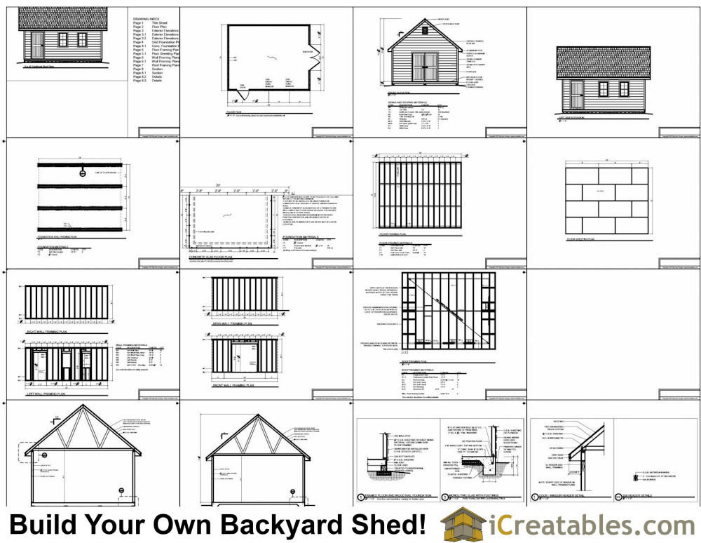 16x20 traditional shed plans build your own large shed for Shed plans and material list