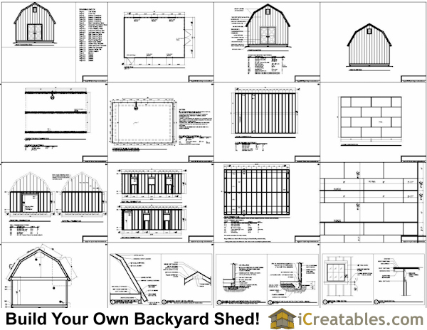16x20 gambrel shed plans 16x20 barn shed plans for Gambrel roof barn plans