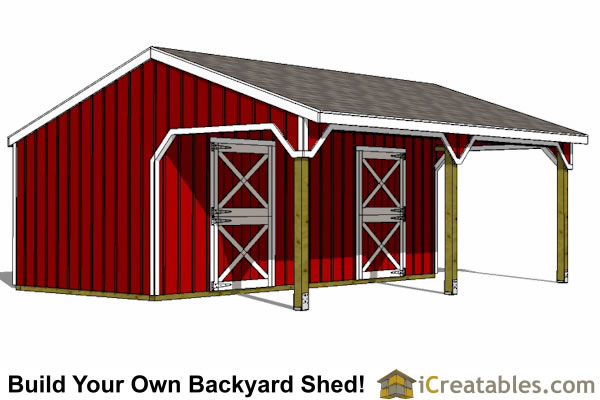 22x24 Horse Barn with Lean To | icreatables SHEDS