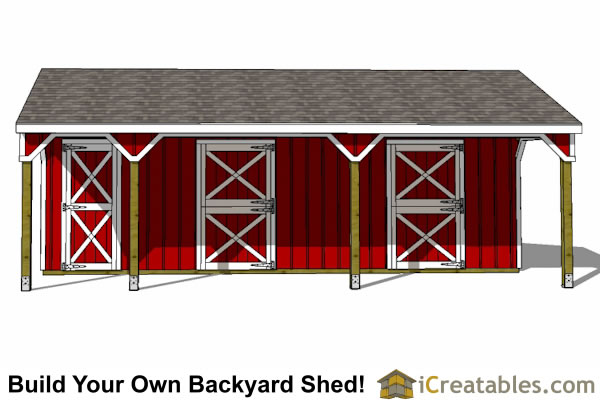 2 Stall Horse Barn Plans With Lean To And Tack Room