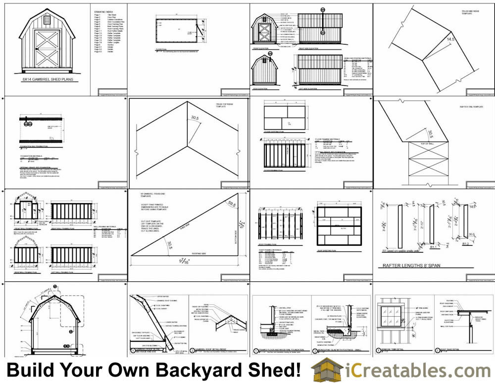 8x14 gambrel shed plans small barn shed plans for Gambrel barn house plans