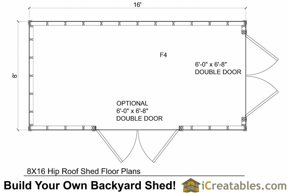 8x16 hip roof shed plans for Shed floor plans