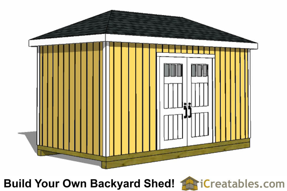 8x16 storage shed plans easy to build designs how to for Hip roof design plans